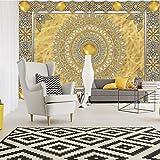 FORWALL Fototapete Tapete Goldene Mandala P4 (254cm. x 184cm.) Photo Wallpaper Mural AMF10373P4 Gratis Wandaufkleber Mandala Indien Indisch Orient Orientalisch Gold