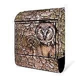 BANJADO Design Briefkasten schwarz/38x47x13cm groß mit Zeitungsfach/Stahl pulverbeschichtet/Wandbriefkasten mit Motiv Eule, Briefkasten:ohne Standfuß