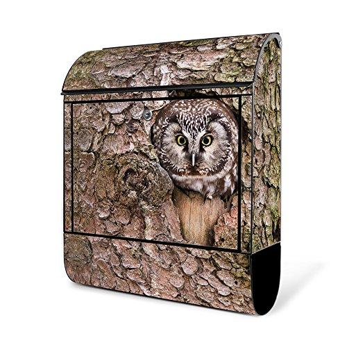 BANJADO Design Briefkasten schwarz | 38x47x13cm groß mit Zeitungsfach | Stahl pulverbeschichtet | Wandbriefkasten mit Motiv Eule | ohne Standfuß
