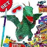 Pinata Grüner Drachen im Partyset mit Süßigkeiten, Keule, Maske für Pinataspiel