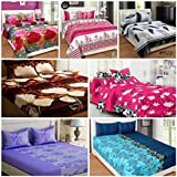 RS Home Furnishing Combo Set Of 7 Glace Cotton Double Bedsheet With 14 Pillow Covers-Color-Multi