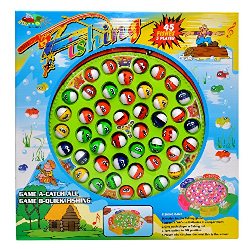 Toyshine Fish Catching Game Big with 45 Fishes and 5 Sticks, Includes Music, Assorted Color