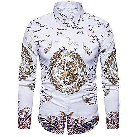 Männer Langarm 3D Digitaldruck Drachen Robes Ethnische Stil Casual Button-Down Freizeit Hemden(XL(TAG:XXXL),Weiß)