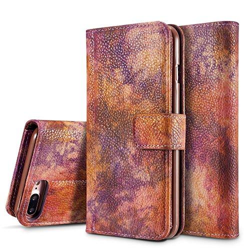 Wald Serie Bunte Paiting Litchi Textur Premium PU Leder Horizontale Flip Stand Brieftasche Case Cover mit Card Slots für iPhone 7 Plus / 8 Plus ( Color : Darkgray ) Crimson