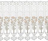 Plauener Spitze by Modespitze, Store Bistro Gardine Scheibengardine mit Stangendurchzug, hochwertige Stickerei, Höhe 50 cm, Breite 176 cm, Creme/Beige/Lachs