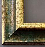 Bilderrahmen Acta Grün Gold 6,7 - 50 x 70 cm - 4 Ausstattungsvarianten wählbar - Leerrahmen ohne Glas mit Aufhänger - Barock, Antik
