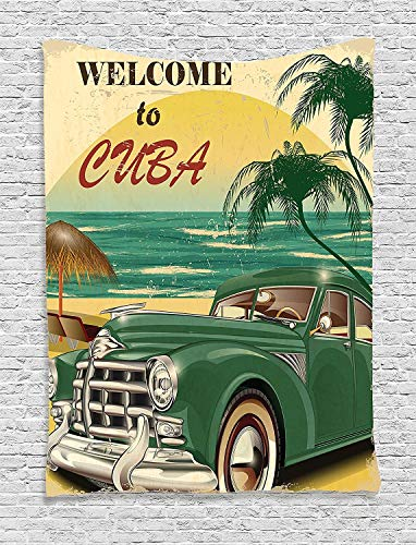 daawqee 1950S Tapestry Nostalgic Welcome to Cuba Artsy Print with Classic Car Beach Ocean and Palm Trees Bedroom Living Room Dorm 50 W x 60 L Inches Unique Home Decor (Iphone Verkaufen Zu)