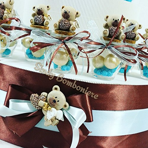 Vasetti portaconfetti battesimo nascita bimbo con orsetti daddyheart (vasetto fuori struttura)