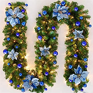 TopHGC Guirnalda de Navidad, 2.7M Chimeneas Escaleras Guirnaldas Decoradas Luces LED Adorno Corona de Navidad para decoración del hogar