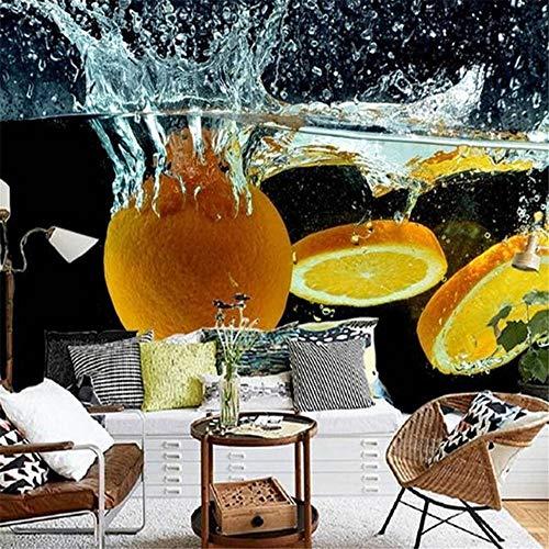 Tapeten Wandbild Hintergrundbild Fototapete3D Wallpaper Benutzerdefinierte Wand Orange Frucht Für Verschütten Kreative Wasser Spray Sauber Fototapete Fernsehraum Hintergründe, 400 * 280 Cm