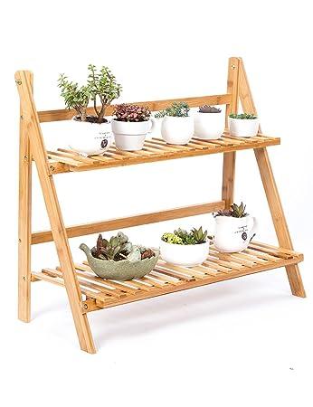 Pflanzentöpfe Außen qiangda pflanze regal blumenregal wooden faltende 2 lagige