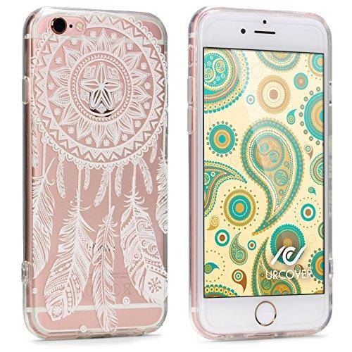 Urcover® Apple iPhone 7 Plus / 8+ Hülle TPU Case mit Traumfänger Schwarz Muster | Durchsichtig Silikon Schutz-hülle | transparent weich dünn flexibel soft slim Cover | Smartphone Zubehör Traumfänger Weiß