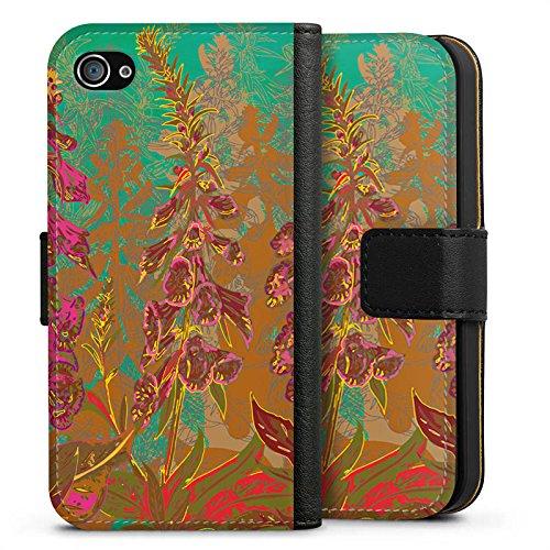 Apple iPhone X Silikon Hülle Case Schutzhülle Blumen Muster Art Sideflip Tasche schwarz