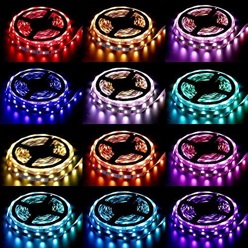 ALED LIGHT® 2x5M LED Strip(10M in Gesamt) 5050 SMD 300 LED RGB Lichtbänder Flexible LED Streifen Band mit 6A EU Power Supply Adapter+44 Key Colours IR-Controller. Ideal für