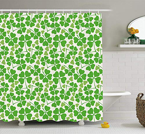 BUZRL Irish Shower Curtain, Gaelic Nature Garden Theme Spring Clovers with Cute Hearts Freshness, Fabric Bathroom Decor Set with Hooks, 60W X 72L Inche Extra Wide, Lime Green Pistachio White (Irish Spring-sport)