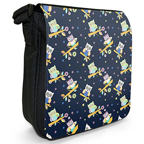 Big Eye-Carta da parati, motivo: gufo, colore: nero, Borsa a tracolla in tela, taglia: S Nero (Starry Night Time Owls)