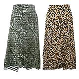 indischerbasar.de Pareo 2er Set Leoparden Tiger Tierfellmuster 100x180cm Sarong Baumwolle Batik Design Strandtuch Wickelkleid
