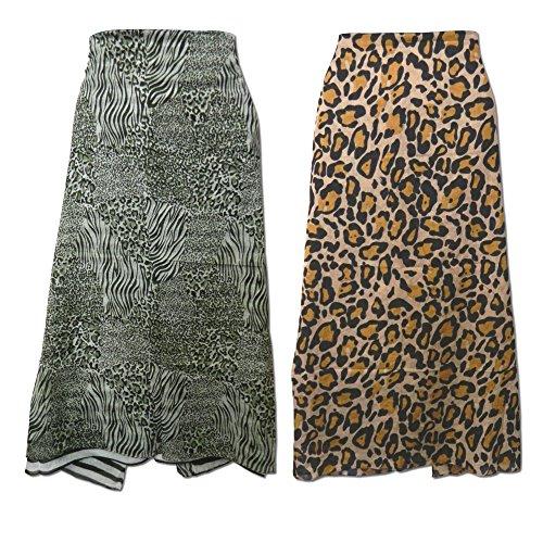 Pareo 2er Set Leoparden Tiger Tierfellmuster 100x180cm Sarong Baumwolle Batik Design Strandtuch Wickelkleid (Baumwolle 100% Leopard)