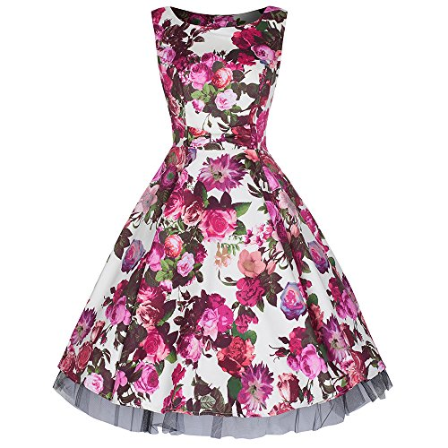 Pretty Kitty Fashion Creme Red Rose Bogenvorder blumendruck Baumwolle 50er Kleid
