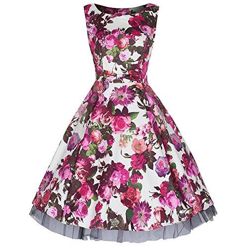Pretty Kitty Fashion Creme Red Rose Bogenvorder blumendruck Baumwolle 50er Kleid