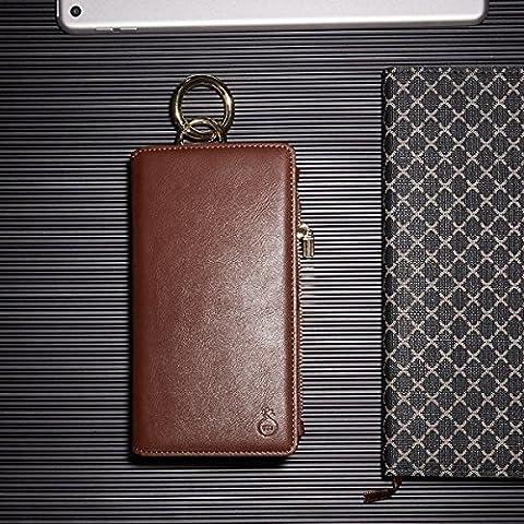 Inovey Pour L'Iphone 6 S 6 4,7 Pouces 2 In 1 Multi-Slot Pu Cuir Amovible À Capuche Wallet Béquille-Affaire - Brown