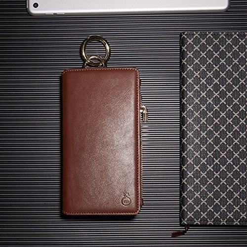 Inovey Per Iphone 6 6S 4.7 Pollici 2 In 1 Multi-Slot Pu In Pelle Staccabile Con Cerniera Portafoglio Kickstand Case - Brown Brown