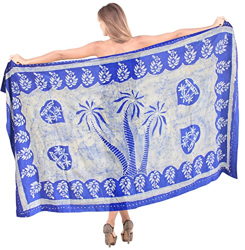 LA LEELA weicher Viskose Strand Hand Batik Palme Badeanzug vertuschen 78x42 Zoll blau -