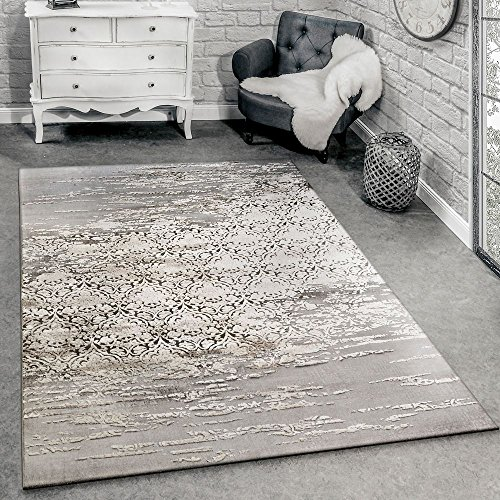 Tappeto di design per soggiorno con moderni motivi ornamentali mélange grigio beige, dimensione:160x230 cm
