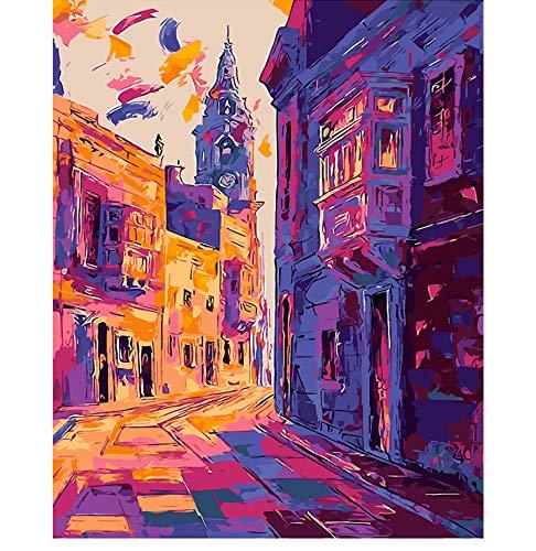 ADVLOOK Erwachsenenfarbe Nach Zahlen Landschaft Regen Nebel In London Bilder Wohnkultur Malerei Bilder by Zahlen Handarbeit Zeichnen Auf Leinwand Wohnzimmer Wandkunst Farbe Rahmenlos 40X50Cm