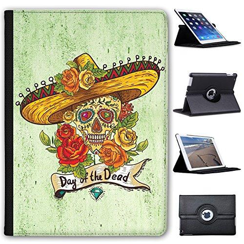 Fancy A Snuggle Edelstein & bemalter Totenkopf mit Sombrero Blumen Case Cover/Folio aus Kunstleder für Das Apple iPad AIR 2 (2nd Generation) - Ipad Blumen Generation Cases 2.