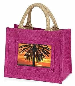 Advanta–Mini Pink Jute Tasche Tropical Palm Sunset Little Mädchen klein Einkaufstasche Weihnachten Geschenk, Jute, pink, 25,5x 21x 2cm