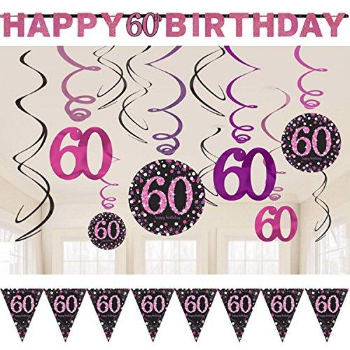 Neu: 23-TLG. Deko-Set * Magenta Sparkling * für den 60. Geburtstag   Dekoration für die Decke   Wimpelkette + Girlande + Deko-Wirbel   Party sechzig rosa
