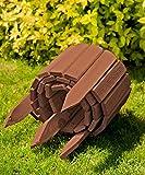 Floranica® Rollboarder als Steckzaun 200x20 cm aus Holz als Beeteinfassung, Beetumrandung, Rasenkante oder Palisade - in Naturfarbe - wetterfest imprägniert, Farbe:braun