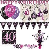Playflip 40. Geburtstag Party Set Deko Pink Schwarz Frau Zahl Dekoration Partyset