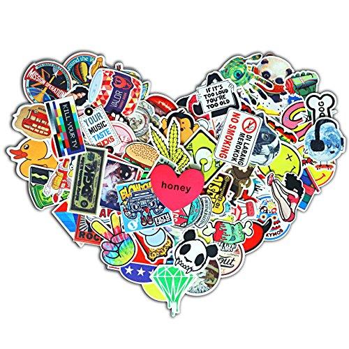 (100 Stk.) Lanseed Aufkleber Vinyl Stickers Graffiti Decals Stickerbomb für Auto, Skateboard, Koffer, Motorräder, Fahrräder, Boote, Laptop, Snowboard Gepäck und Glatte Oberfläche