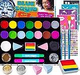 Kinderschminke Set Party Set von Blue Squid 49 teiliges 16-Farben für lebendige Körperbemalungen Haarkreide-Stifte, Gems, Schablonen, Glitzer Schminke, professionelles Pinsel Set (1 Pack)