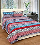 AAZEEM Cotton Double Bedsheet with 2 Pil...