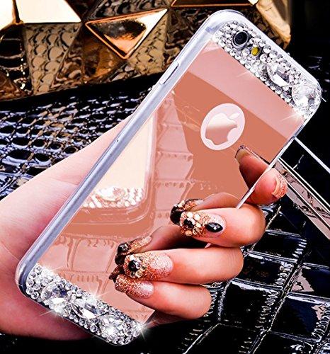 FESELE TPU Specchio Custodia Per iPhone 6S/iPhone 6 Cover, Specchio Soft Case Cristallo Brillantini Trasparente Clear Bling Glitter Shinning Strass Diamante Custodia [Ultra Sottile] Custodia Silicone  specchio,Oro rosa