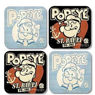 Popeye Retro Untersetzer - Popeye Sant Pauli 4er Set