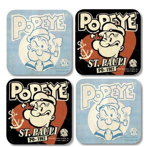 Popeye Retro Untersetzer - Popeye Sant Pauli 4er Set (Popeyes Dvd)