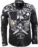 Kingz Herrenhemd - Langarm Hemd - Totenkopf - Skull - mit Strass Steinen - schwarz Größe L