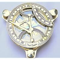 Delhi artes latón reloj de reloj de sol brújula, 4pulgadas, aspecto elegante, aspecto antiguo, reloj de sol