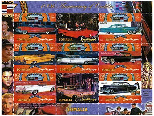 classic-car-stamps-for-collectors-100th-anniversary-of-cadillac-9-mint-stamps-never-mounted-and-neve