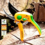 GRÜNTEK Secateurs FLAMINGO, TEFLON coated, pruning shears with ergonomic and carving anti-slip handles, bypass