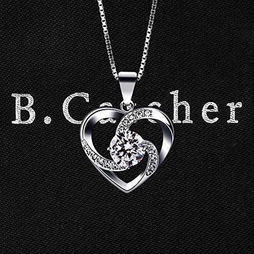 B.Catcher Kette Herz Damen Halskette 925 Sterling Silber Anhänger ''Liebe ist Das Glück'' Schmuck Zirkonia 45CM Kettenlänge Geschenk für Damen