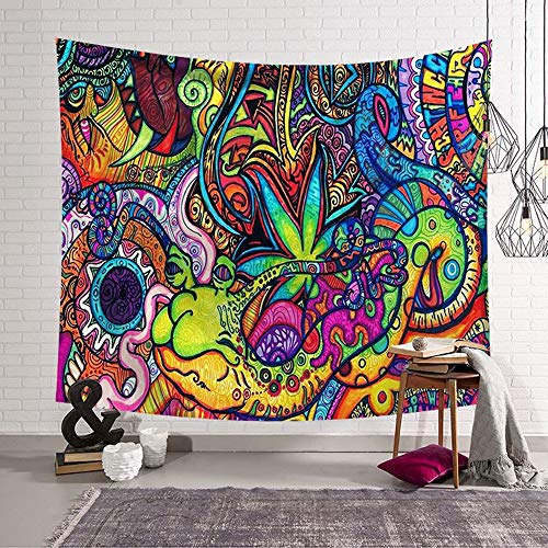 Morbuy Arazzo da Parete Grande Dipinto, Hippie Poliestere Stampa Home Decor tappeti da Parete Casual Picnic Telo Mare (Piccolo (130 x 150 cm), Lumaca)
