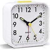 Tisaika Silent Alarm Clocks Bedside Non Ticking Battery Powered Table Clocks Luminous Large Display Snooze Light Function for