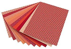 Folia 46209-Diseño de cartón Basics, 50x 70cm, 10Hojas, Color Rojo Surtidos