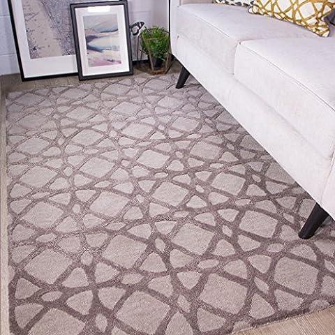 Nika Thick Trellis Geometric Grey and Natural Living Room 100% Wool Woollen Rug 120cm x 170cm