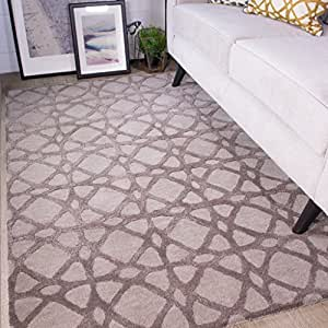 Nika Thick Trellis Geometric Grey and Natural Living Room 100% Wool Woollen Rug 160cm x 230cm